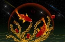 锦鲤复古传统背景海报素材图片