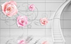 玫瑰花藤水波纹背景墙图片