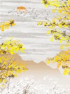 中式春风山川黄梅客厅装饰画图片