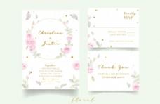 水彩玫瑰花装饰婚礼邀请卡图片