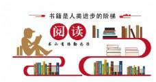 校园阅览室图书馆文化墙图片