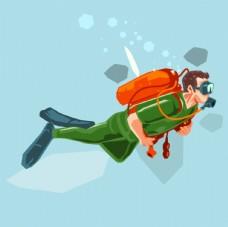 卡通潜水图片