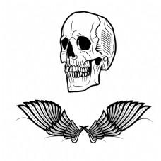 卡通翅膀人头骨图片