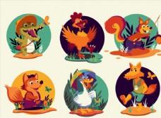 卡通玩耍动物图片