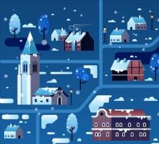 冬季雪夜小城图片
