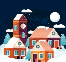 冬季夜晚房屋风景图片