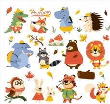 卡通秋季动物图片