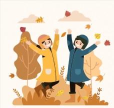 创意秋季跳跃男女图片