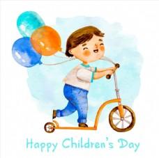 儿童节滑板车男孩图片