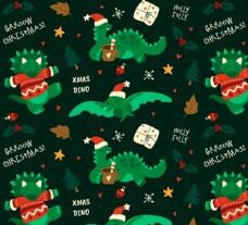 圣诞恐龙无缝背景图片