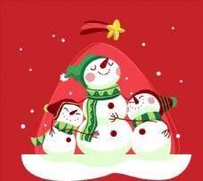 卡通雪中的雪人图片
