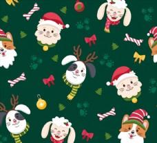 圣诞动物无缝背景图片