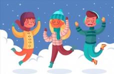雪上跳跃的男女图片