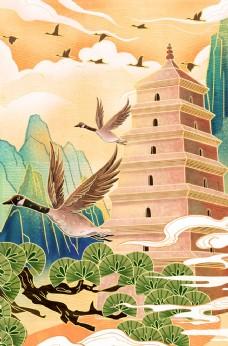 高塔传统复古插画背景海报素材图片