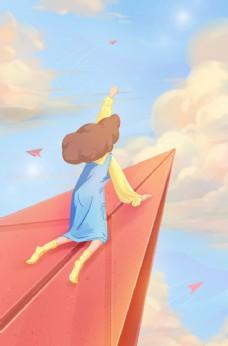 天空飞翔女孩插画背景海报素材图片
