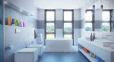 C4d简约白色浴室场景图片