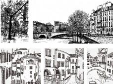 手绘建筑矢量图图片