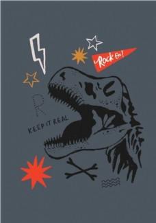 恐龙印花图案图片