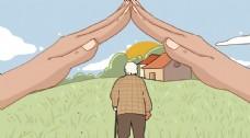 关爱老人插画卡通背景海报素材图片
