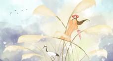 芦苇女性插画卡通背景海报素材图片
