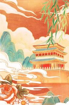 寺院传统复古插画背景海报素材图片