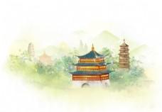 建筑古风插画卡通背景海报素材图片