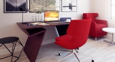 c4d实木红椅桌面书房场景图片