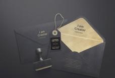 黑色质感信封样机3图片