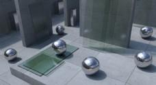 金属球体立体场景背景图片