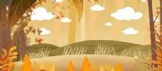 手绘秋天背景图片