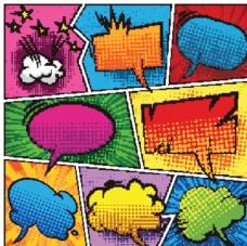 多彩爆炸氣泡對話框圖片