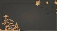 中國風高端奢華房地產仙鶴展板圖片