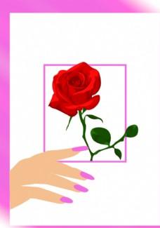 矢量插畫女人的手和玫瑰花圖片