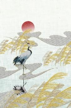 芒草復古刺繡效果背景海報素材圖片