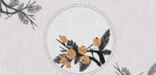 柿子復古刺繡效果背景海報素材圖片