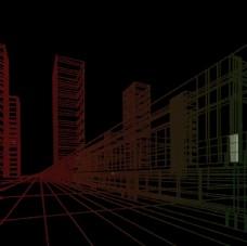 城市建筑透視線條素材圖片