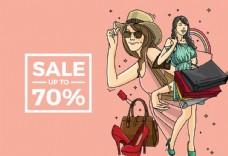 女人購物插畫圖片