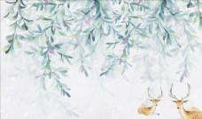 花藤鹿背景墻圖片