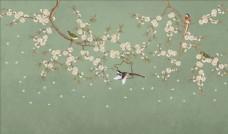 花鳥畫手繪畫鳥背景墻圖片