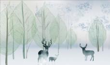 樹鹿背景墻圖片