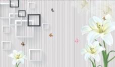 浮雕花百合框框背景墻圖片