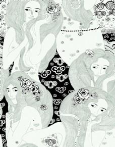 黑白線條女人圖片
