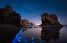 藍色海灣旅游背景海報素材圖片