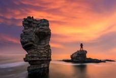 海邊日出旅游背景海報素材圖片
