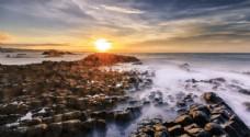 海邊日落黃昏旅游背景海報素材圖片