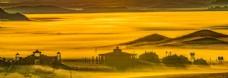 草原日出旅游背景海報素材圖片