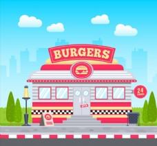 漢堡包店矢量圖片