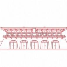 西安丹凤门线条矢量建筑物图片