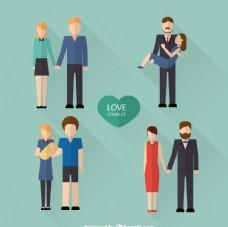情侶夫妻設計矢量圖片
