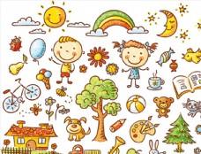 可愛的兒童插畫圖片